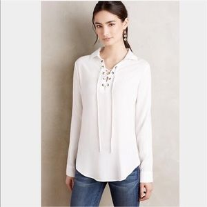 Anthropologie Cloth & Stone lace front blouse